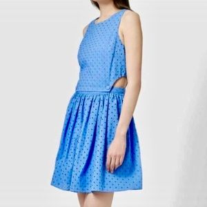 Topshop Pinafore Eyelet Cutout Dress in Blue | EUC